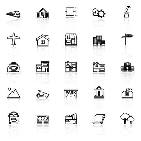 reflect: Real estate line icons with reflect on white, stock vector