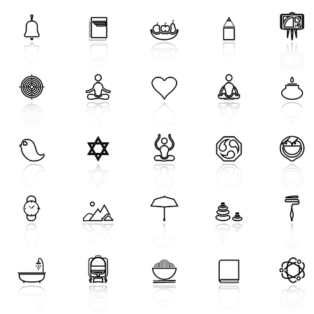 Zen society line icons with reflect on white, stock vector