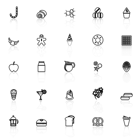eclair: Sweet food line icons with reflect on white background, stock vector