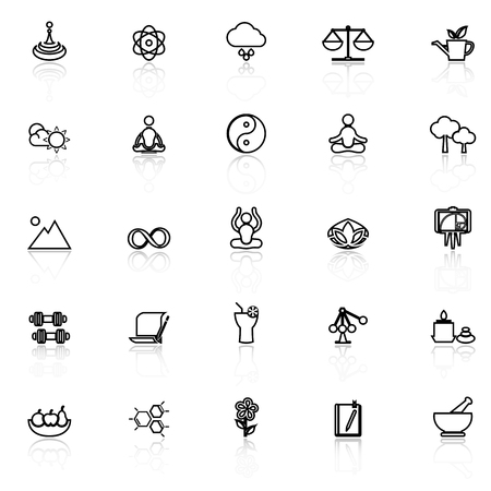 Zen concept line icons with reflect on white, stock vector