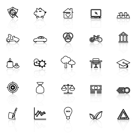 sufficient: Sufficient economy line icons with reflect on white, stock vector