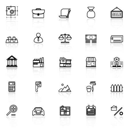 home loan: Mortgage and home loan line icons with reflect on white, stock vector