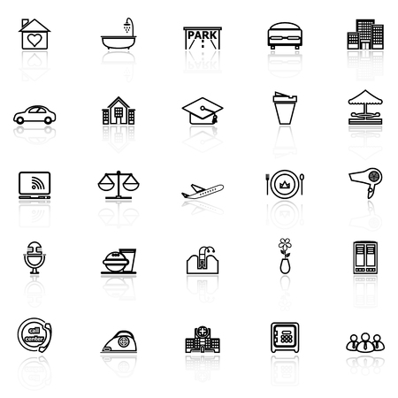 barber: Hospitality business line icons with reflect on white background, stock vector