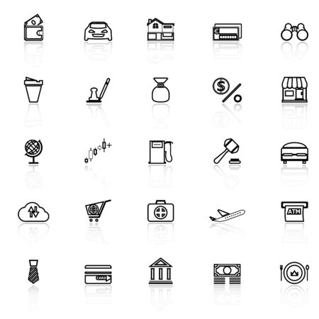 reflect: E wallet line icons with reflect on white, stock vector