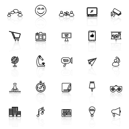 reflect: Media marketing line icons with reflect on white background, stock vector