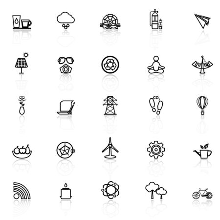 reflect: Clean concept line icons with reflect on white, stock vector Illustration
