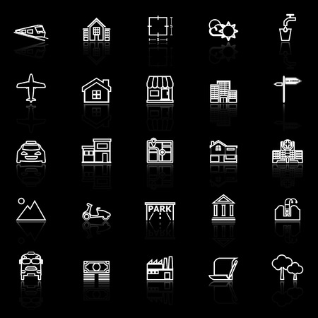 monorail: Real estate line icons with reflect on black, stock vector