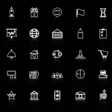 reflect: Business start up line icons with reflect on black, stock vector