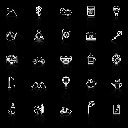 slow: Slow life activity line icons with reflect on black, stock vector