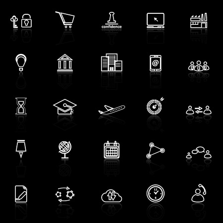 reflect: Business connection line icons with reflect on black background, stock vector