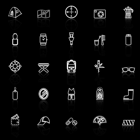lamplight: Camping necessary line icons with reflect on black background, stock vector