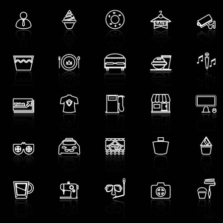 roomservice: Franchisee business line icons with reflect on black, stock vector