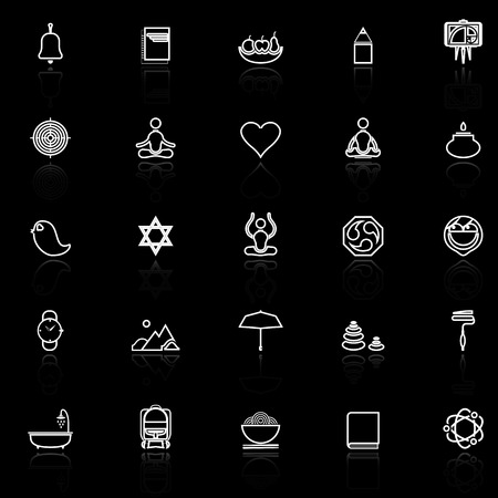 reflect: Zen society line icons with reflect on black, stock vector