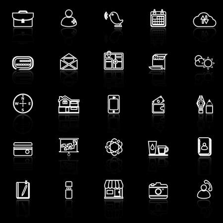 reflect: Mobile line icons with reflect on black, stock vector