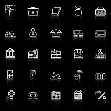 home loan: Mortgage and home loan line icons with reflect on black, stock vector