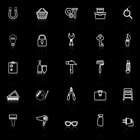 diy: DIY line icons with reflect on black background, stock vector Illustration