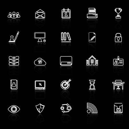 reflect: Business management line icons with reflect on black, stock vector