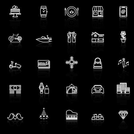 reflect: Birthday gift line icons with reflect on black, stock vector