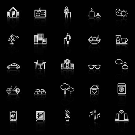 reflect: Retirement community line icons with reflect on black, stock vector Illustration