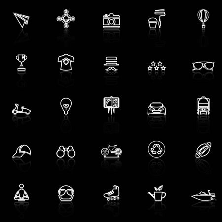 reflect: Hipster line icons with reflect on black, stock vector