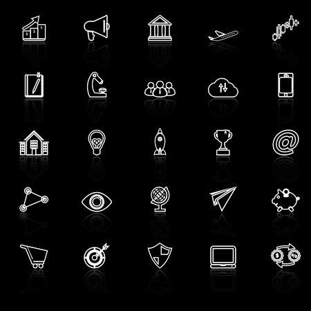 reflect: Startup business line icons with reflect on black background, stock vector Illustration