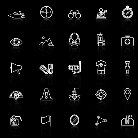 Waterway related line icons with reflect on black, stock vector Illustration