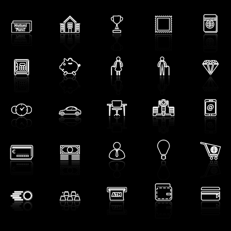 reflect: Personal financial line icons with reflect on black, stock vector Illustration