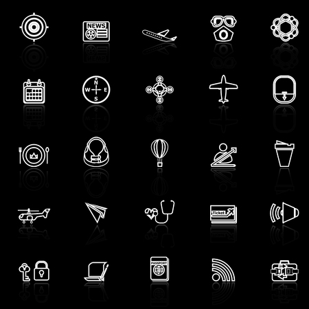 reflect: Air transport related line icons with reflect on black, stock vector Illustration