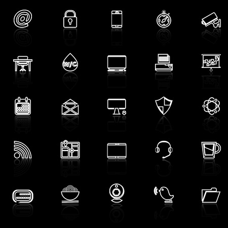 reflect: Internet cafe line icons with reflect on black, stock vector