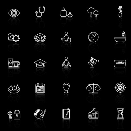 contemplation: Meditation line icons with reflect on black background, stock vector
