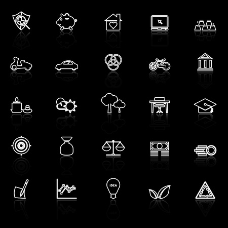 black economy: Sufficient economy line icons with reflect on black, stock vector
