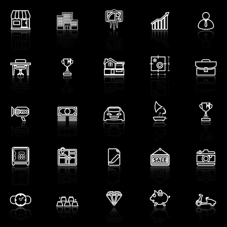 reflect: Asset and property line icons with reflect on black, stock vector Illustration