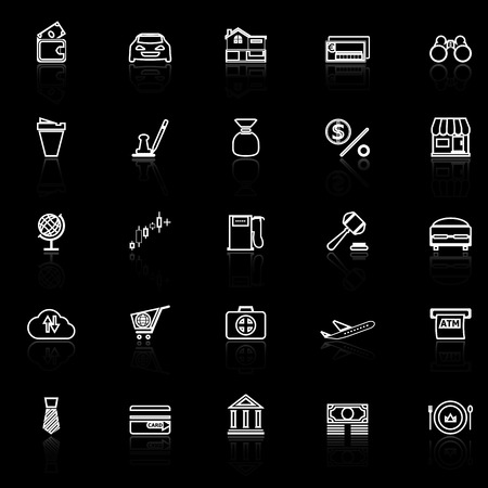 e wallet: E wallet line icons with reflect on black, stock vector Illustration