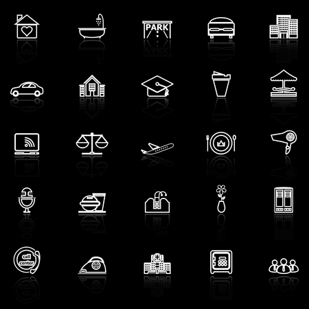 hospitality: Hospitality business line icons with reflect on black background, stock vector