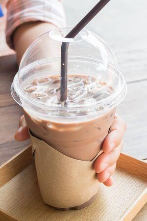 mocha: Glass of coffee mocha with ice Stock Photo