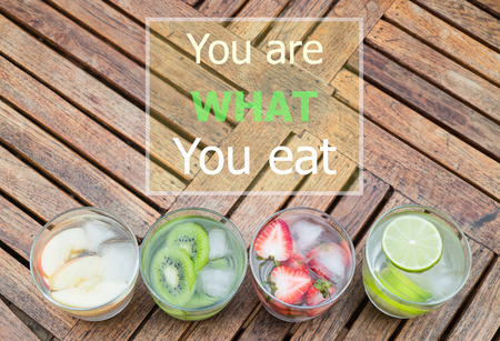 stock quote: You are what you eat quote design poster, stock photo