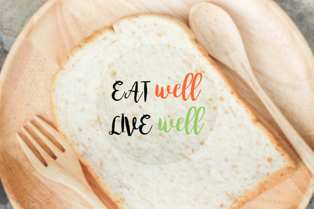 stock quote: Sliced of whole wheat bread with healthy quote, stock photo