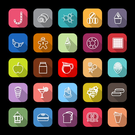eclair: Sweet food line icons with long shadow