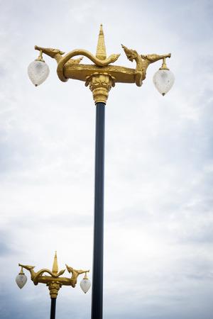 Streetlight with Naka figure in Thai style culture art