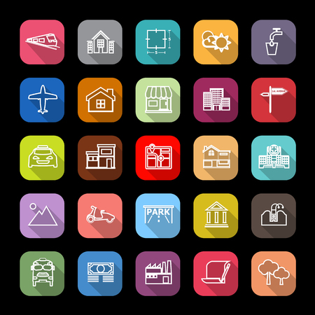 monorail: Real estate flat line icons with long shadow