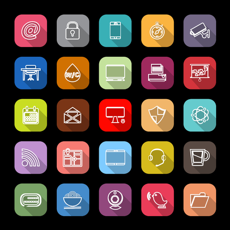 video icons: Internet cafe line icons with long shadow, stock vector