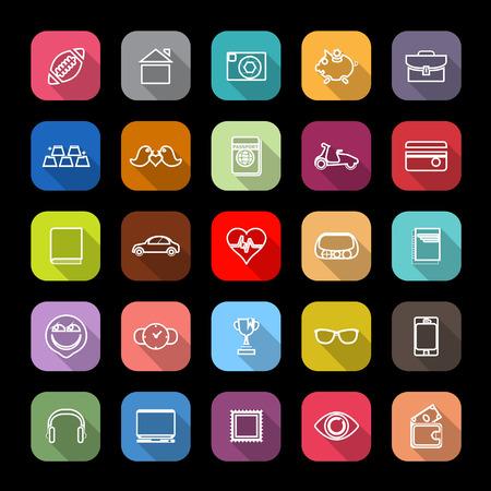 datos personales: iconos de l�neas de datos personales con larga sombra, las acciones de vectores
