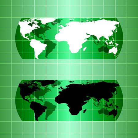 green globe: Silhouette green globe map material design