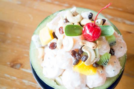 Healthy fruit salad with yoghurt, stock photo Stock Photo