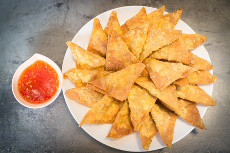 Homemade fried dumplings serving on the plate, stock photo