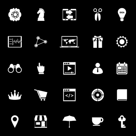 Business plan icons on black background, stock vector