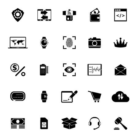 Financial technology icons on white background, stock vector Illustration