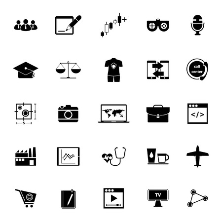 Online working icons on white background, stock vector Illustration