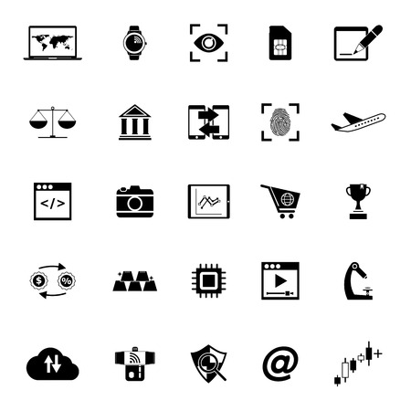 Information technology icons on white background, stock vector