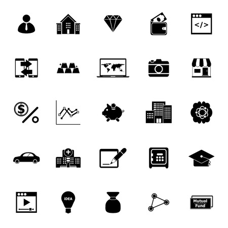 Passive income icons on white background, stock vector Illustration